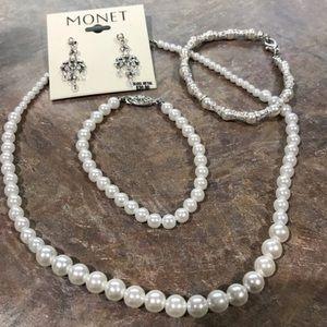 NWT Monet Earrings Faux Pearl Necklace & Earrings